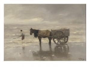 anton-mauve-charrette-sur-la-plage